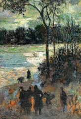 Paul Gauguin - The Fire at the River Bank, 1886 at Museo Thyssen-Bornemisza Madrid Spain (mbell1975) Tags: madrid art museum river painting french paul fire spain gallery museu fine arts bank musée musee m espana impressionism museo thyssen impression impressionist muzeum gauguin the müze thyssenbornemisza bornemisza museumuseum