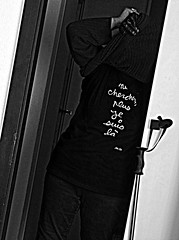 ne cherchez plus, je suis l (overthemoon) Tags: door portrait bw selfportrait home me hands ben tshirt doorway walkingstick utata glove stick tilt cupboard slant ip 144 utata:color=black utata:project=ip144