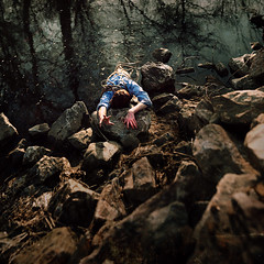 Help  (Explored) (Cameron Bushong) Tags: blue trees sun cold texture water creek self reflections square moss sticks hands rocks stream pants branches bubbles rope boulders shiver 366
