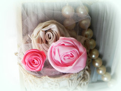 pink roses (AllThingsPretty...) Tags: ribbonflowers ribbonroses fabricroses