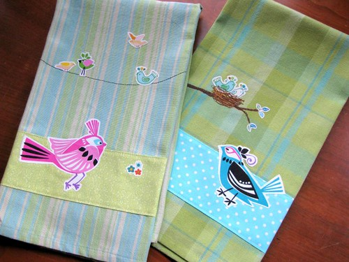 Bird Collage Tea Towel