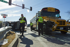 Car vs. Bus (Joseph Pollock) Tags: school bus car hospital fire crash mo driver grandview department injuries collsion josephpollock