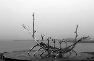 Sólfar - The Sun Voyager- on a misty day