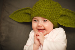 Hmmmm, excited am I. (Marquisde) Tags: portrait people baby cute green girl smile face hat children happy starwars infant child yoda australia excited 7d kawaii beanie canonef50mmf14usm