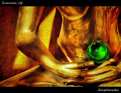 Summon Up /  (AmpamukA) Tags: travel green up that thailand gold buddha orb buddhism thai chiangmai kham wat phra doi summon           ampamuka