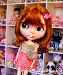 Plum's Sherbert Dress (Happily Candied) Tags: trip love pom friend doll dress candy sweet plum knit gift present blythe rare sherri sherbert bl kozy kozykape shershe blythecon2011