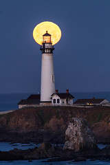 Moonset on Pigeon Point Lighthouse (phil_mcgrew) Tags: california nightphotography moon lighthouse hostel shoreline bluehour moonset pescadero pigeonpointlighthouse ca1