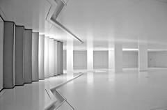 flachgelegt - neuen raum schaffen (Fotoristin - blick.kontakt) Tags: blackandwhite abstract lines stairs treppe turned gedreht linien 90 schwarzweis bmwmuseummnchen