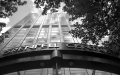 Grenfell Centre (baytram366) Tags: 2003 street trees white black building slr tower film glass architecture office steel south centre perspective entrance australia negative stump adelaide 1980s grenfell