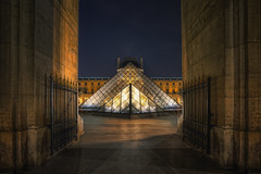Pyramids (TheFella) Tags: longexposure paris france building slr glass metal museum architecture night digital photoshop canon dark french eos photo high triangle europe ledefrance dynamic pyramid louvre entrance landmark courtyard lobby nighttime photograph processing slowshutter napoleon 5d dslr range hdr highdynamicrange palaisdulouvre lelouvre glasspyramid markii parisienne musedulouvre postprocessing cournapolon rpubliquefranaise louvremuseum pyramidedulouvre photomatix frenchrepublic rgionparisienne louvrepyramid parisregion grandlouvre louvrepalace thefella 5dmarkii conormacneill thefellaphotography