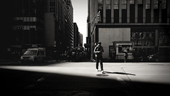 Step in it (Dj Poe) Tags: street new york city nyc light shadow bw white black digital photography dj crossing candid 4 gr iv poe ricoh 2012