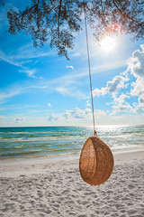 Rattan swing at the beach (Patrick Foto ;)) Tags: blue sea summer sky cloud sun white tree beach nature water relax landscape asian thailand asia day outdoor sunny nobody swing thai comfort rattan tranquilscene tropicalclimate