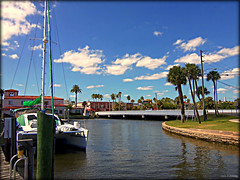 City Island Bridge (Chris C. Crowley) Tags: bridge clouds boats scenic bluesky palmtrees firestation cityisland beachstreet halifaxriver yachtbasin chriscrowley downtowndaytonabeach halifaxharbormarina celticsongw22 channel2building