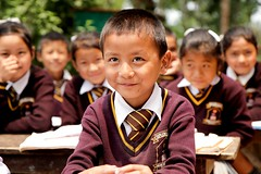 The Shy Kid in School (Satyaki Basu) Tags: travel people india canon eos indian places hills monastery f28 himalayas sikkim t3i 1755 kanchenjunga 600d rinchenpong westsikkim otherkeywords kaluk