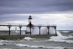 Wind and Waves (Tony Lau Photographic Art) Tags: city sky lake art photography lighthouses waves michigan great lakes indiana photographic tony lau 2016 46360