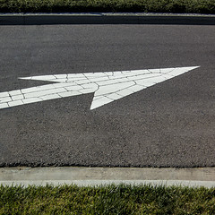 arrow plane (MyArtistSoul) Tags: street urban white texture broken grass square flat minimal arrow asphalt simple arrowhead broke cracked curbs s100 0445