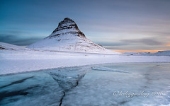 breaking light (pixellesley) Tags: morning mountain snow cold ice clouds reflections river landscape dawn iceland skies arctic kirkjufell thaw daybreak breakingice snaefellsnes meltwater lesleygooding