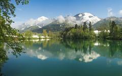 Reflections in the Lake (Dejan Hudoletnjak) Tags: sunset lake colors reflections landscape spring colorful warm slovenia springcolors reflectionsinlake