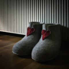 Mamma's Slippers (Anne Worner) Tags: red stilllife square hearts floor radiator ricohgr slippers onthefloor feltedslippers felthearts ononesoftware anneworner