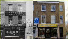 Kentish Town Road`1904-2016 (roll the dice) Tags: life old uk family windows england people urban haircut london art history classic tourism lamp architecture canon hair dead fun lost kid closed sad estate natural camden victorian cctv retro collection flats nostalgia funeral council local streetfurniture rough mad ornate changes demolished penalty edwardian barbers kentishtown nw1 oldandnew dwelling vanished bygone hereandnow ellenterry pastandpredent diamondunisexsaloon