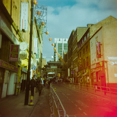 New Year on Faulkner Street (morelcarly) Tags: street manchester holga lomo lofi multiple dreamy analogue exposures