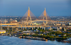 The Bhumibol Bridge (Rotationism) Tags: landmark bhumibol freeway king transportation bridge modern overpass urban sky architecture thai industrial road communication business chao thailand suspending concrete highway expressway river outdoor traffic bridges travel bangkok asia city line design country structure engineering intersection light ring construction water color asian phraya suspension blue high landscape connection transport chaophraya