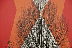 DSC_5443 [ps] - Burning Bush (Anyhoo) Tags: winter red urban orange white tree geometric wall architecture facade germany design mural pattern bright bare painted branches saxony leipzig flats domestic sachsen sunburst colourful angular twigs gdr faade habitation anyhoo gdrarchitecture kthekollwitzstrase photobyanyhoo