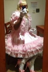 Sitting pretty (or else!) (shellyanatine) Tags: pink dress crossdressing forced maid frilly feminization petticoated