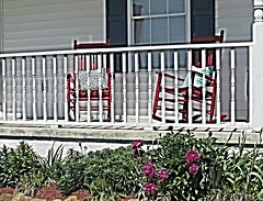 Old Red Rockers And Purple Peonies .... (~ Cindy~) Tags: home relax 1st tennessee may down rest frontporch redrockerspurplepeonies