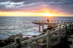 Sunset at North Beach (karldinnington) Tags: ocean life sunset sea people beach fence foot pier couple rocks colorful outdoor north australia perth orangewaves