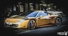 Gold Ferrari (No Bollard) (Lawless! Photography) Tags: london gold super ferrari harrods knightsbridge chrome kensington riyadh supercar carspotting 458 alazzawi