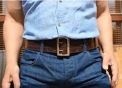 mb12 (armybelt007) Tags: domination crotch bulge beltfetish malebutt leatherbelt leatheranddenim wideleatherbelt armybelt militarybelt leatherandjeans beltinjeans sheriffbelt