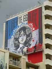 Obey : Libert, galit, ... travail en cours le 21 juin 2016 (Archi & Philou) Tags: streetart workinprogress obey wip libert paris13 paintedwall bleublancrouge murpeint galit travailencours