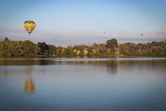 Over the lake (e-maujean) Tags: trees lake hot reflection water balloons flying balloon canberra