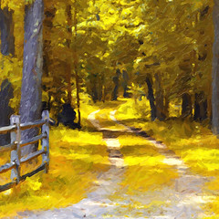 Forest Trail (-Simulacrum-) Tags: park art nature beautiful yellow forest painting nikon creative digitalpainting trail oilpaint naturephotography foresttrail nikonphotography 180550mmf3556 nikond5300
