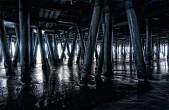 Under the Santa Monica Pier at Sunset - LA Photowalk With Trey Ratcliff (stratiotology) Tags: sunset beach pier nikon santamonica tokina d90