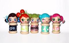 the girly gang. (boxsquare.) Tags: cute wooden doll handmade crafts ribbon etsy kokeshi japanesque spool mqsquare