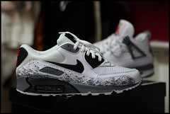 Nike iD Air Max 90 Air Jordan inspired. (Never Wear Them) Tags: red white black max never photography grey cool air id 4 cement inspired nike wear jordan them custom iv 90 splatter niketalk speckles nikeid airmax90 am90 nikeid90
