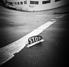 (ctanstfl) Tags: 120 film sign oregon portland pinhole stop pdx intersection analogue crosswalkkodaktmy100