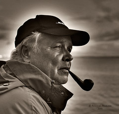 beautiful dad! (Annasara Bjaaland) Tags: blackandwhite man sepia iceland portait father pipe human tobacco tobaccopipe