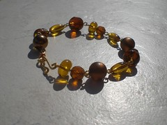 Amber coloured wired bead bracelet small (Gregelope) Tags: