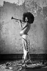 L'air du temps (Dominique Soulard) Tags: black afro pregnancy trumpet maternity maternit blackwoman noire trompette