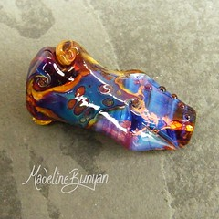 """Crazy Little Thing - Twisted Lampwork Glass focal in purple blue tan • <a style=""""font-size:0.8em;"""" href=""""https://www.flickr.com/photos/37516896@N05/6844502506/"""" target=""""_blank"""">View on Flickr</a>"""