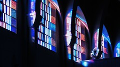 Abbey Church windowlight (LauraSorrells) Tags: pink blue church window glass fan peace conversion god pov geometry patterns prayer joy vivid stainedglass grace christianity cistercian contemplative gratitude trappist 2012 monasteryoftheholyspirit abbeychurch contemplativeprayerretreat