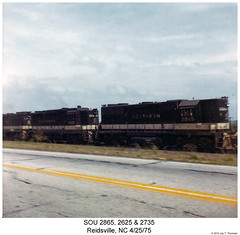 SOU 2865, 2625 & 2735 (Robert W. Thomson) Tags: railroad train diesel northcarolina railway trains southern locomotive trainengine sr sou reidsville geep emd gp38 gp30 gp38ac fouraxle