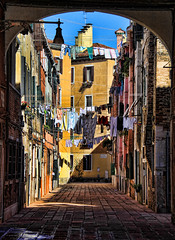 Laundry day in Venice (o palsson) Tags: venice houses italy colors buildings alley laundry clotheslines coth abigfave