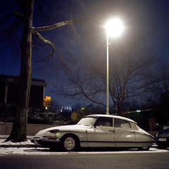 Old beauty. (wojszyca) Tags: auto old longexposure winter snow berlin 6x6 tlr car night vintage mediumformat kodak citroen ds mat 124g epson 100 yashica gossen ektar 4990 lunaprosbc