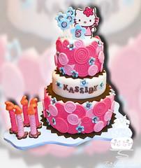 Hello Kitty Swirl Cake (FaithfullyCakes) Tags: hello birthday cakes cake disco candles pittsburgh kitty rolls swirls dust 5th fifth fondant faithfully