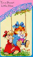 To a sweet little miss - happy birthday (Joybot) Tags: birthday old pink dog playing classic girl cat vintage puppy children happy kitten child play little cartoon swing retro together card 80s bow wishes happybirthday ribbon greetings wish eighties miss 1980 1980s greeting manyhappyreturns