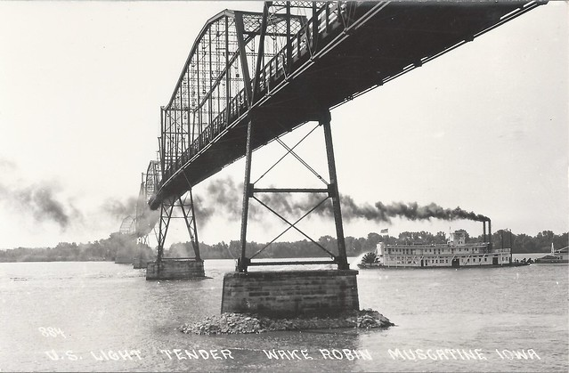 Muscatine High Bridge, Iowa, Illinois, Steamer, Steamboat, Wake Robin